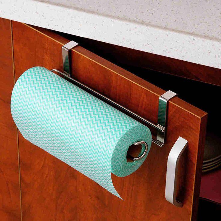 Kitchen Roll Paper Towel Holder Stainless Steel Racks Under Cabinet Door Drawer #Unbranded