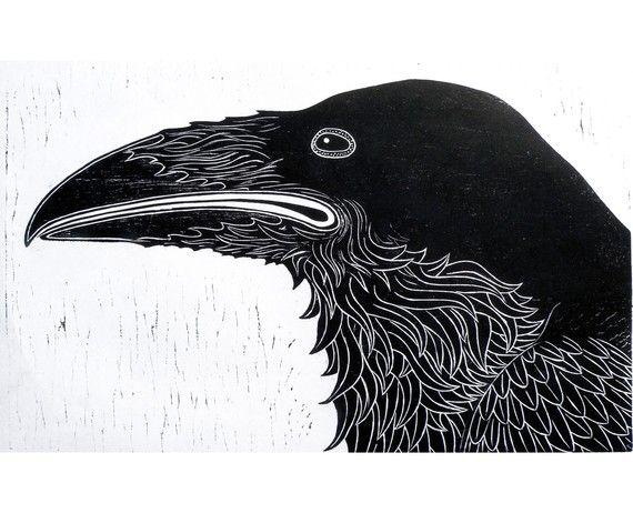 Raven Woodblock Print wall art by VIZart on Etsy