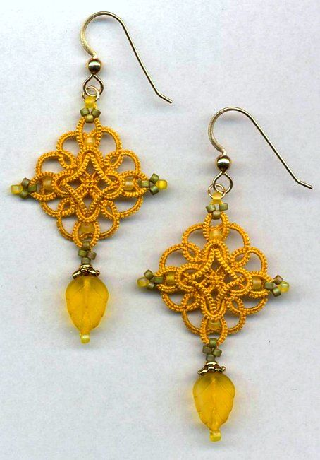 Tatted earrings ~ great color & design.