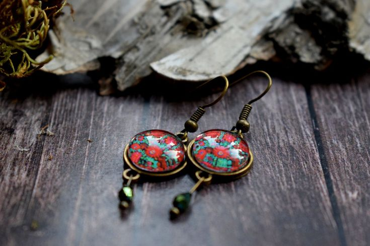 Hungarian jewelry, red floral earring with folk motifs, bronze earring, red tulips, glass jewelry, matyo earring