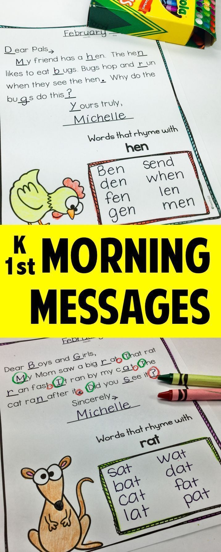 Morning Messages for early readers and writers. These 20 morning messages are perfect for 1st grade, advanced kindergarten, or review for 2nd grade. paid
