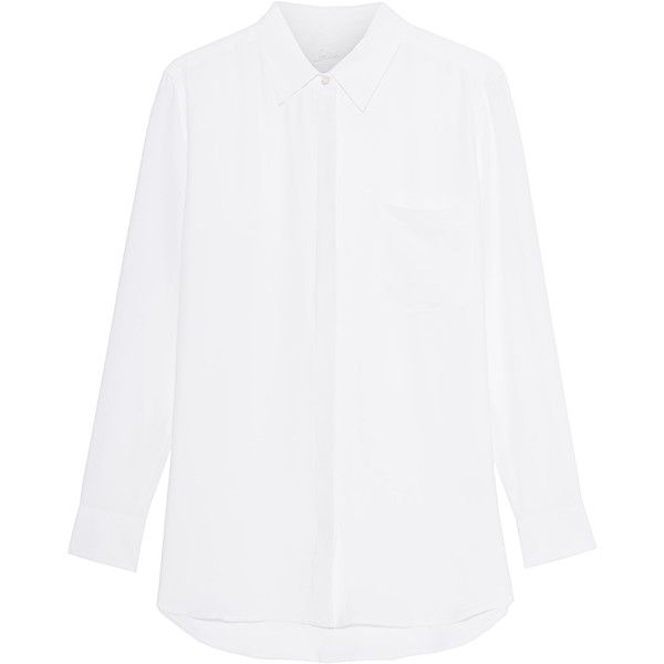 JADICTED Jose White // Silk blouse with breast pocket found on Polyvore featuring tops, blouses, shirts, loose blouse, white blouse, white silk top, loose tops and loose fitting tops
