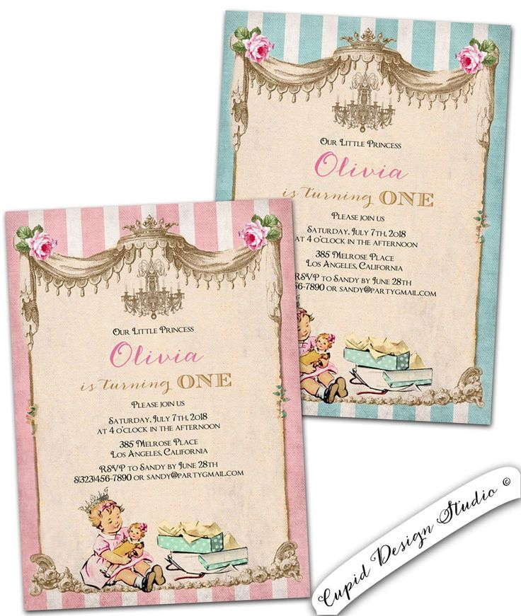 Best Birthday Invitations Images On Pinterest Etsy Shop - Vintage girl birthday invitation