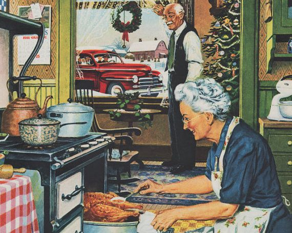 Vintage 1947 Ad Christmas Kitchen Turkey Old Stove Plymouth Winter Snow Theme