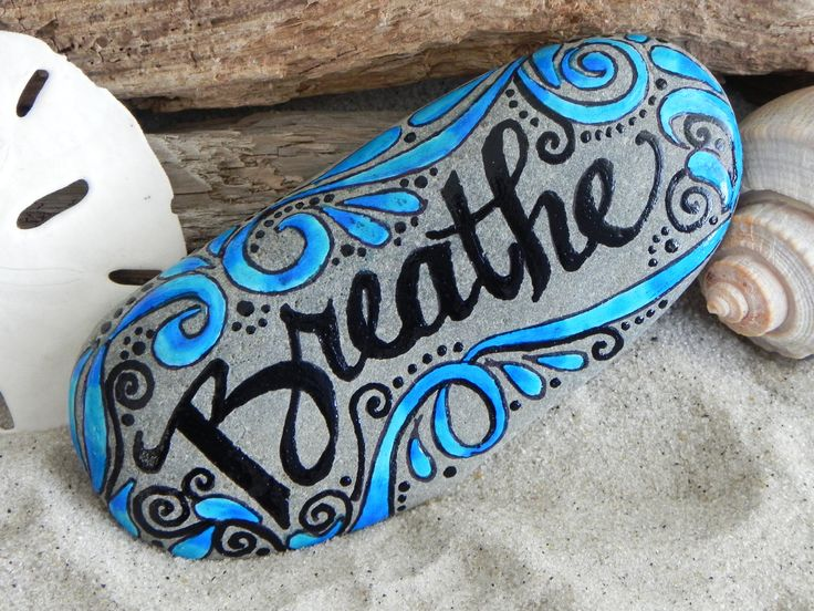 Painted Rock / Breathe/ Sandi Pike Foundas by LoveFromCapeCod