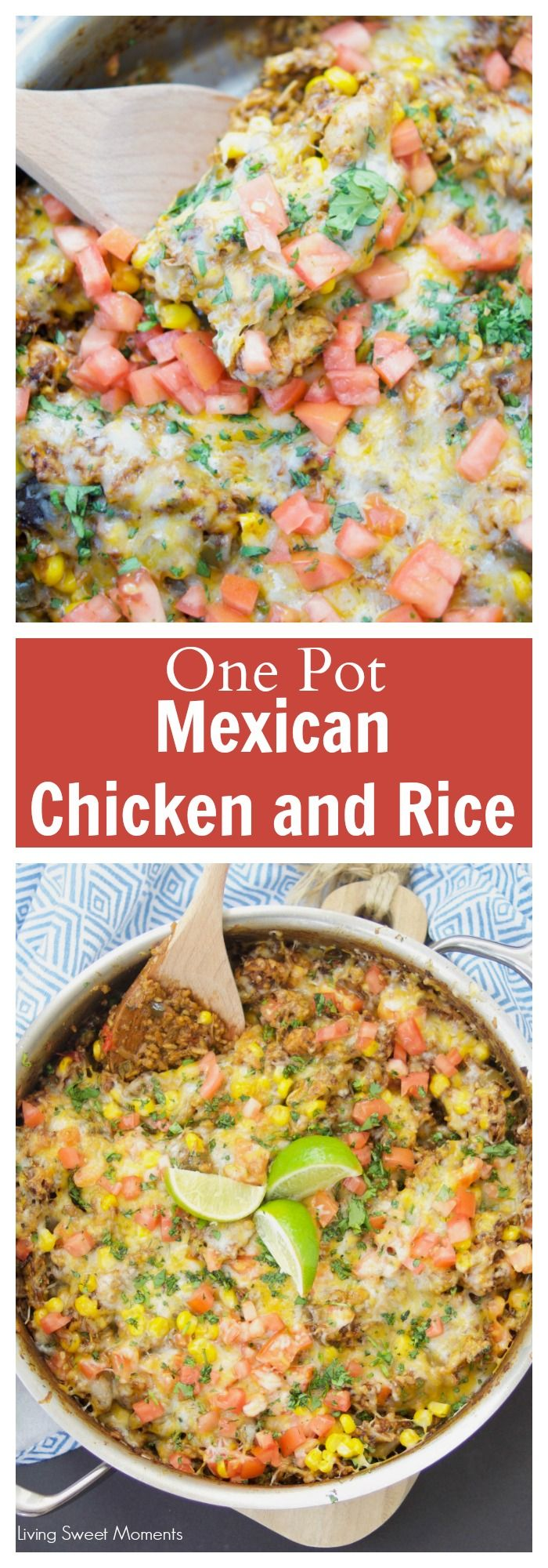 This amazing one pot cheesy Mexican Chicken And Rice recipe is made with authentic Mexican Mole sauce & topped with sesame seeds, for a quick 30-minute meal. More one pot meals at livingsweetmoments.com via @Livingsmoments #ad #MoleEveryday #DonaMariaMole