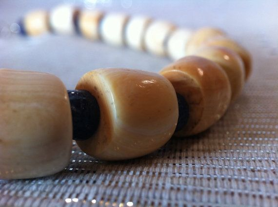 African White Coral Trade Beads Necklace by monuandmonu on Etsy