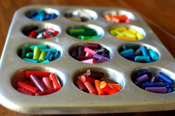 Melted crayons: All of those leftover crayon bits become great end-of-year gifts for the kids (not to mention good busywork having them remove the paper).