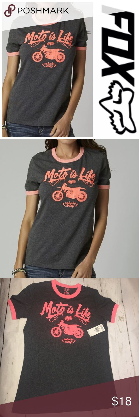 🆕FOX RACING WOMENS SPEED CONTROL RINGER TEE Fox Racing Womens Speed Control Ringer Tee -  60/40% Cotton Poly Jersey, 125 grams. Heathered body with contrast binding at neck and sleeve opening in baby rib fabric. Reverse coverstitch details throughout body. Crackle ink Fox logo screen at front. Fox Tops Tees - Short Sleeve