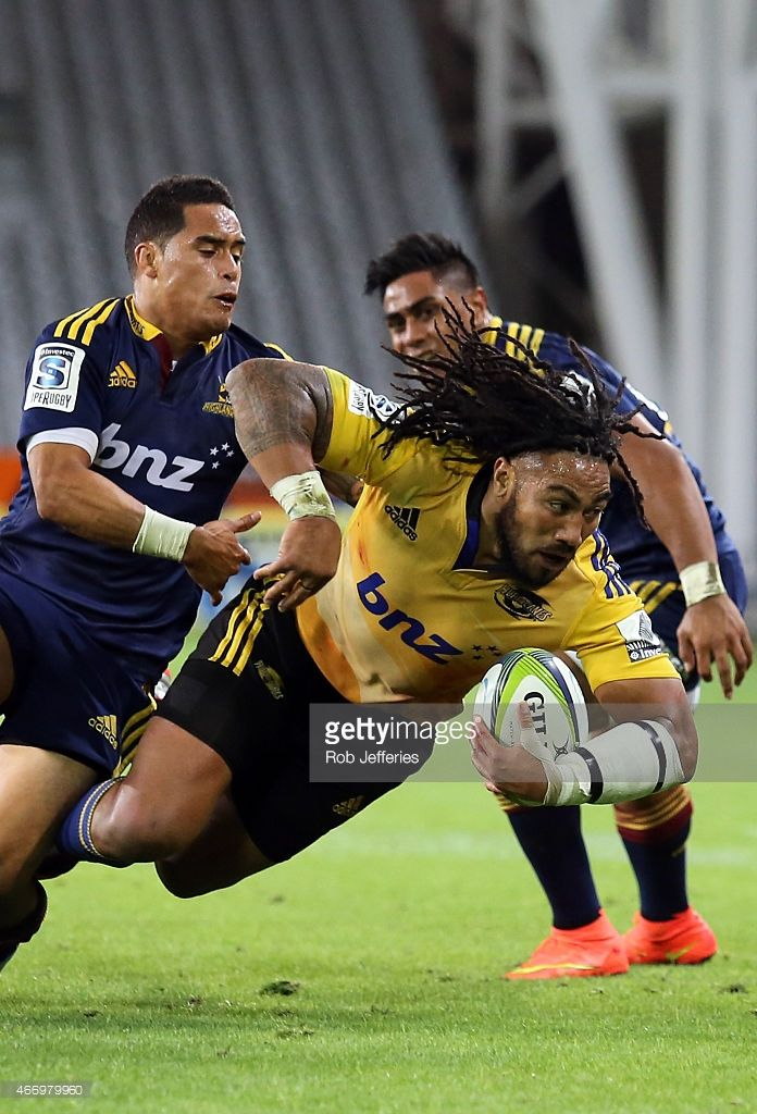Maa Nonu of the Hurricanes on the charge during the round six Super Rugby match between the Highlanders and the Hurricanes at Forsyth Barr Stadium on March 20, 2015 in Dunedin, New Zealand.