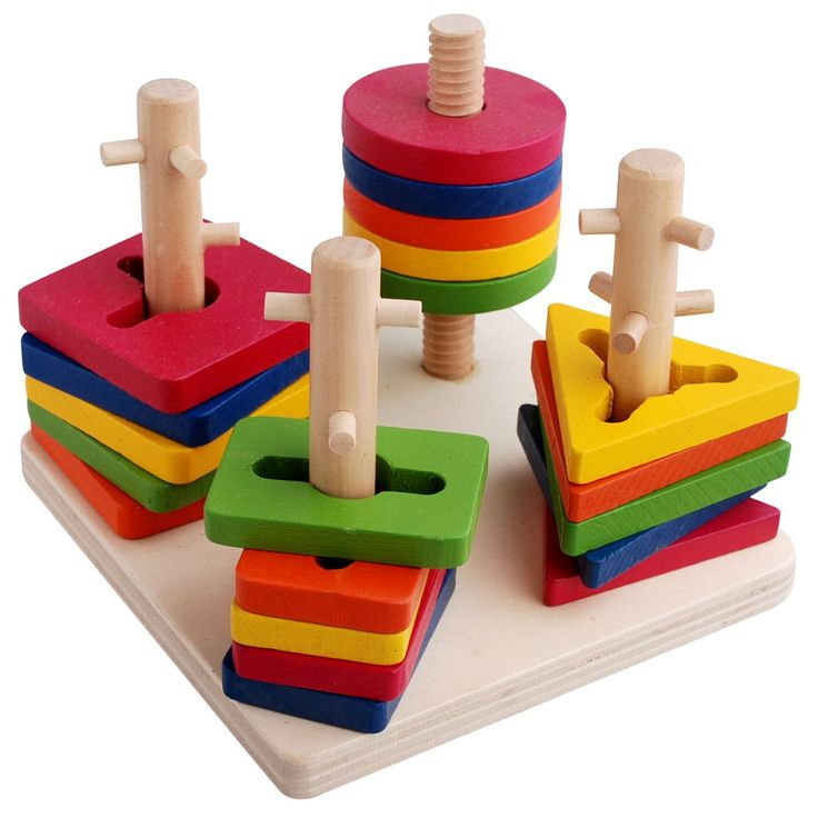 Many Toy Educational Baby Toy Column Shape Rings Building Blocks 1 2