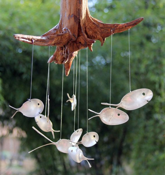 Spoon Fish & Drift wood wind chimes Number 3 by nevastarr on Etsy