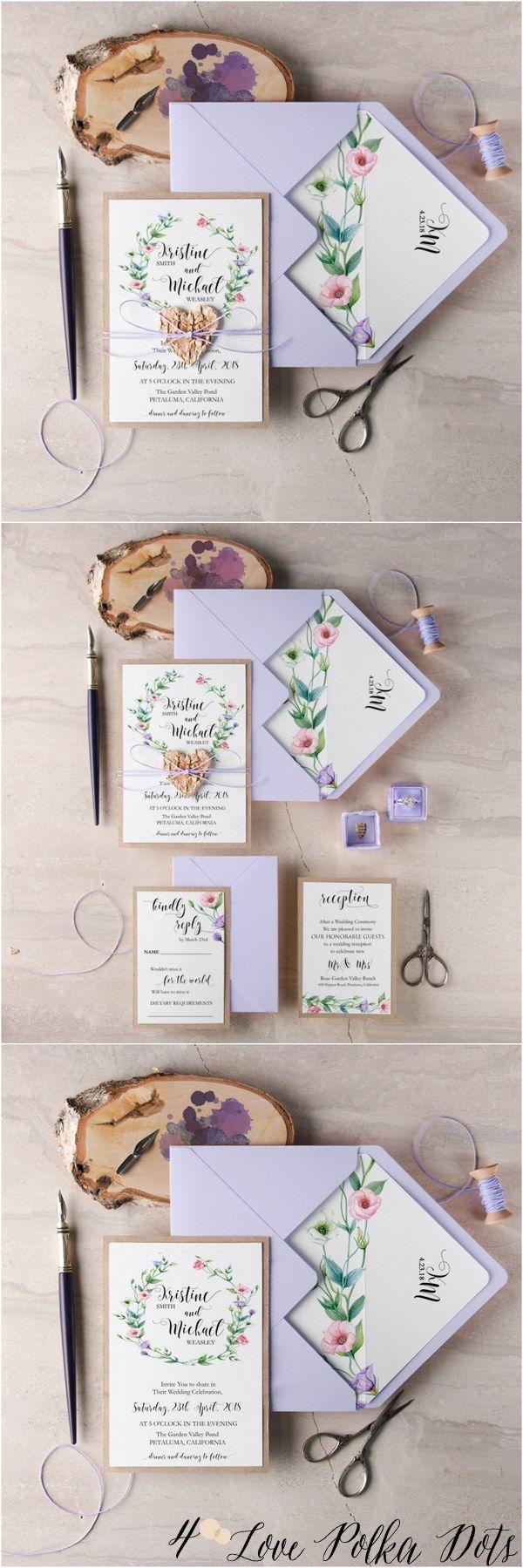 Passion purple watercolor wedding invitations #purplewedding #floralwedding #lilacwedding