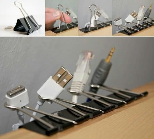 Use binder clips for some basic cable management in the office. Cheap and practical!