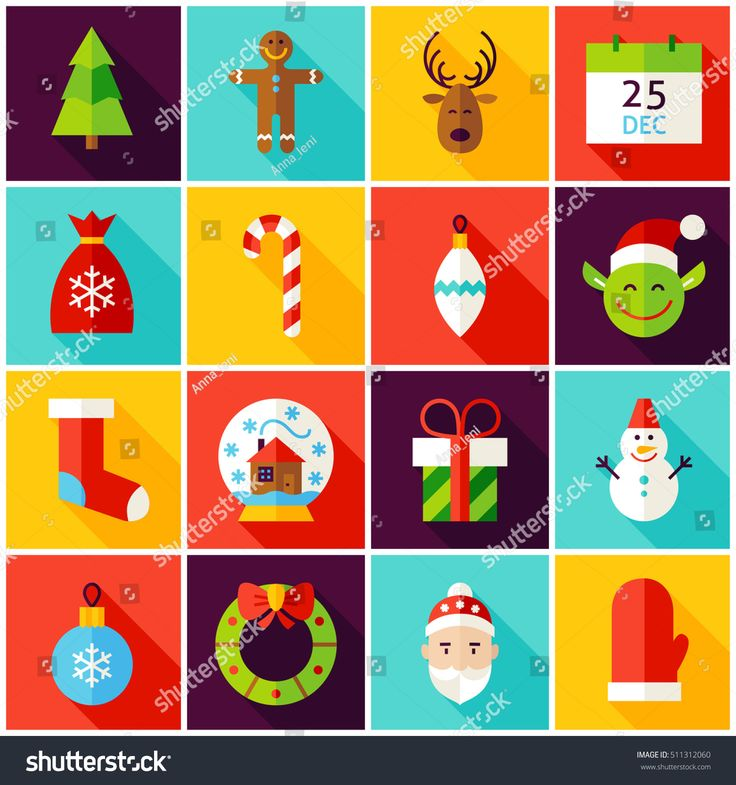 Happy New Year Colorful Icons. Vector Illustration. Winter Holiday. Collection of Square Symbols with Long Shadow.