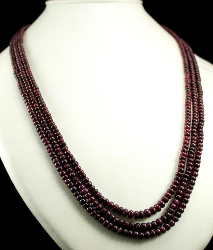 3 Strand Natural Red Ruby 389ct Oval Cabochon Beads Gemstone String Necklace(kgr389ct),for further details,visit us at www.krishnagemsnj...