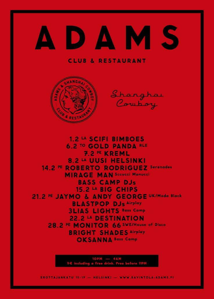 ADAMS Club & Restaurant website. Design: Tony Eräpuro #poster #program #music #promotion #graphicdesign #club