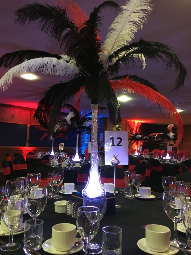 Close up of red, white and black feathered centrepieces with an LED base
