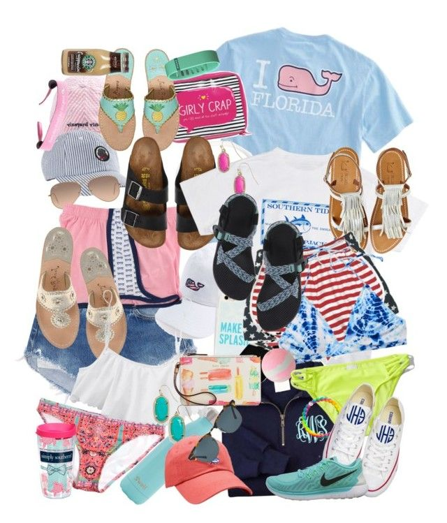 """a preppy guide: summer essentials "" by smbprep ❤ liked on Polyvore featuring Vineyard Vines, Frends, Happy Jackson, Ray-Ban, Birkenstock, Southern Tide, Jack Rogers, Calypso Private Label, S'well and Express"