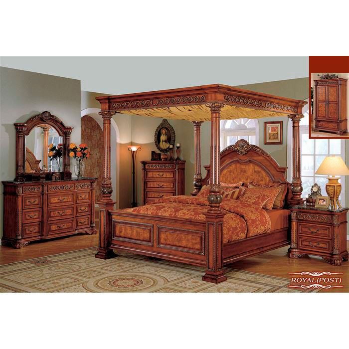 Royal Bedroom Set In Canopy Style By Meridian Furniture. Buy This Royal  Elegant Solid Wood Traditional Canopy Bedroom Set And Give Your Bedroom A  Grand ...