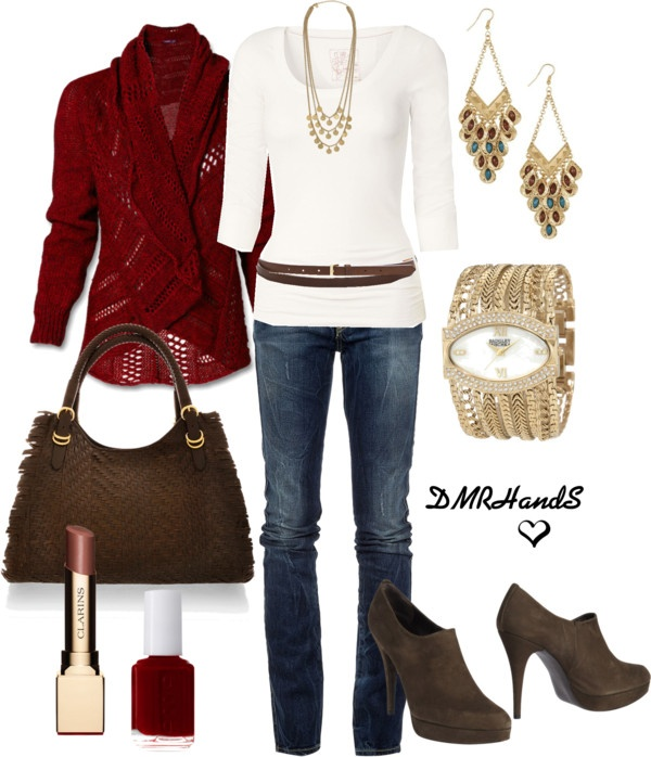 brown & red for fallFall Outfit Ideas, Casual Style, Offices Outfit, Fall Fashion, Brown Boots, Work Outfit, Polyvore Fashion, Fall Weather, Polyvore Outfit