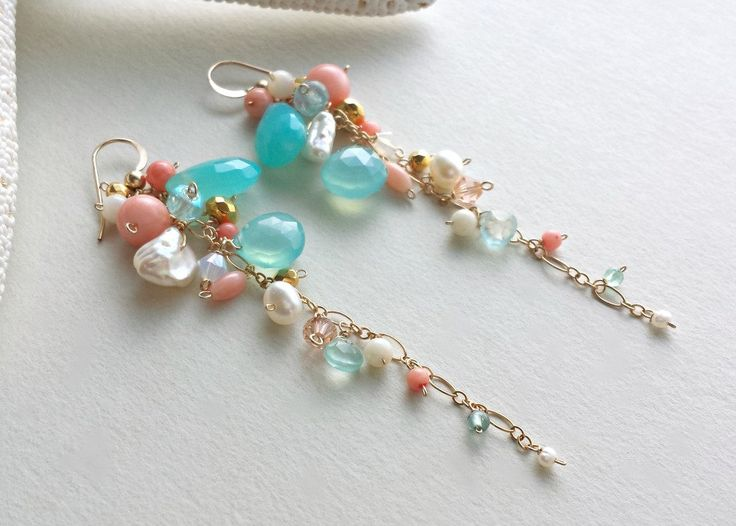 Peach Aqua Gemstone Dangle Earrings, Gemstone Cluster, Long Dangle Earrings, Peach Coral, Peach Mint Earrings, Boho Dangle Earrings by BellaAnelaJewelry on Etsy https://www.etsy.com/listing/223469348/peach-aqua-gemstone-dangle-earrings