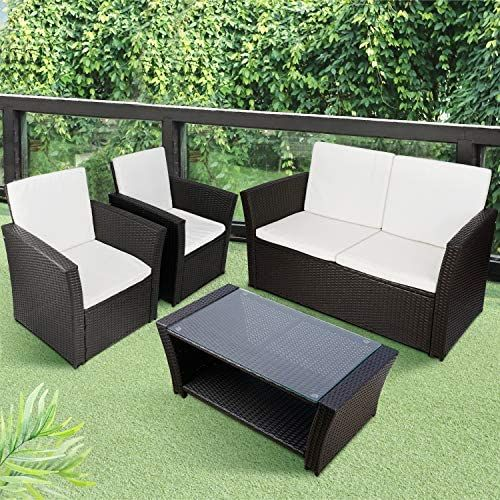 Tusy 5pcs Outdoor Patio Furniture Sets High Back Rattan Chair Sectional So Patio Furniture Conversation Sets Patio Furniture Sets Outdoor Patio Furniture Sets