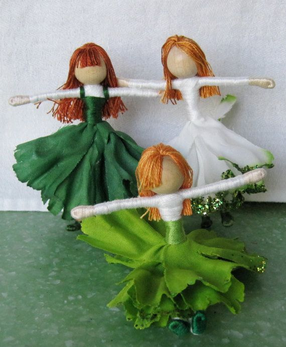 Fairies and elves Set of 3 ornaments by TracysGardenFairies..Waldorf-inspired flower fairies are handmade wrapped wire bendy dolls. I wrap them with cotton floss which has a lovely sheen and does not pill with age. They are usually about 3 inches tall and fully pose-able.