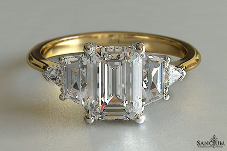 Custom Fine Jewellery Design New Zealand Emerald Cut Five-Stone Engagement Ring with Trapazoid and Trillion diamond Side Stones in Yellow 18kt Gold