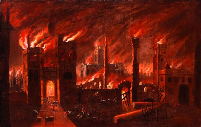 Great Fire painting, 1670s (27.142) Showing the fire from either Newgate or Ludgate with St Paul's Cathedral in the background. © Museum of London