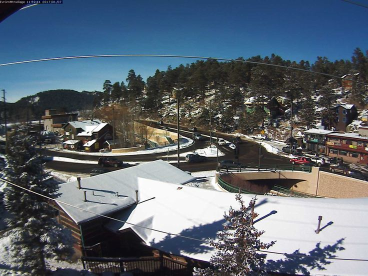 Our Downtown Evergreen webcam showing the intersection of Highway 73 and Hwy 74 crossing over Bear Creek. Check traffic and road conditions anytime, it updates every 5 minutes!