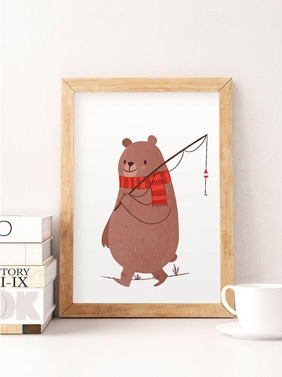 Cute bear illustration Whimsical animal art Nursery por NorseKids