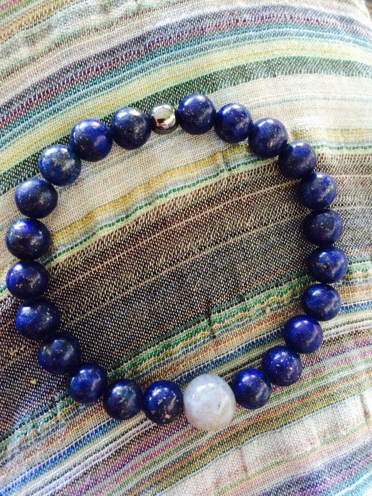 Lapis lazuli, Jasper & Hematitt Medtiation Mala. Speak your truth and manifest through meditation.