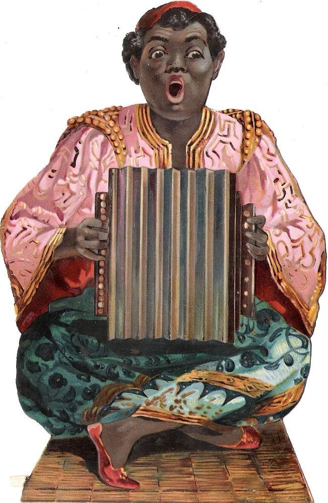 Oblaten Glanzbild scrap die cut chromo black americana 15cm Schwarzer Musiker