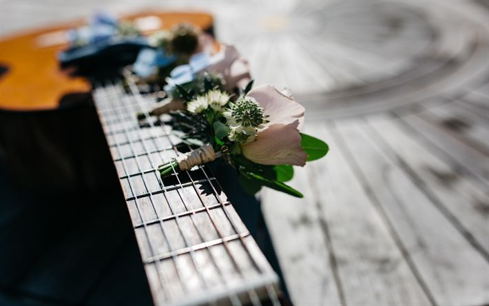 Descargar fondos de pantalla Ramo de flores, la guitarra, el romance, la flor en el ojal, rosas