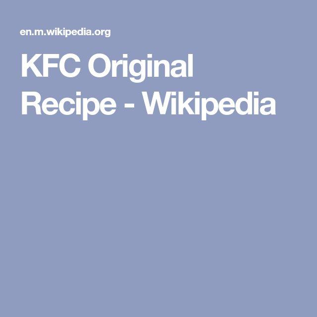 KFC Original Recipe - Wikipedia