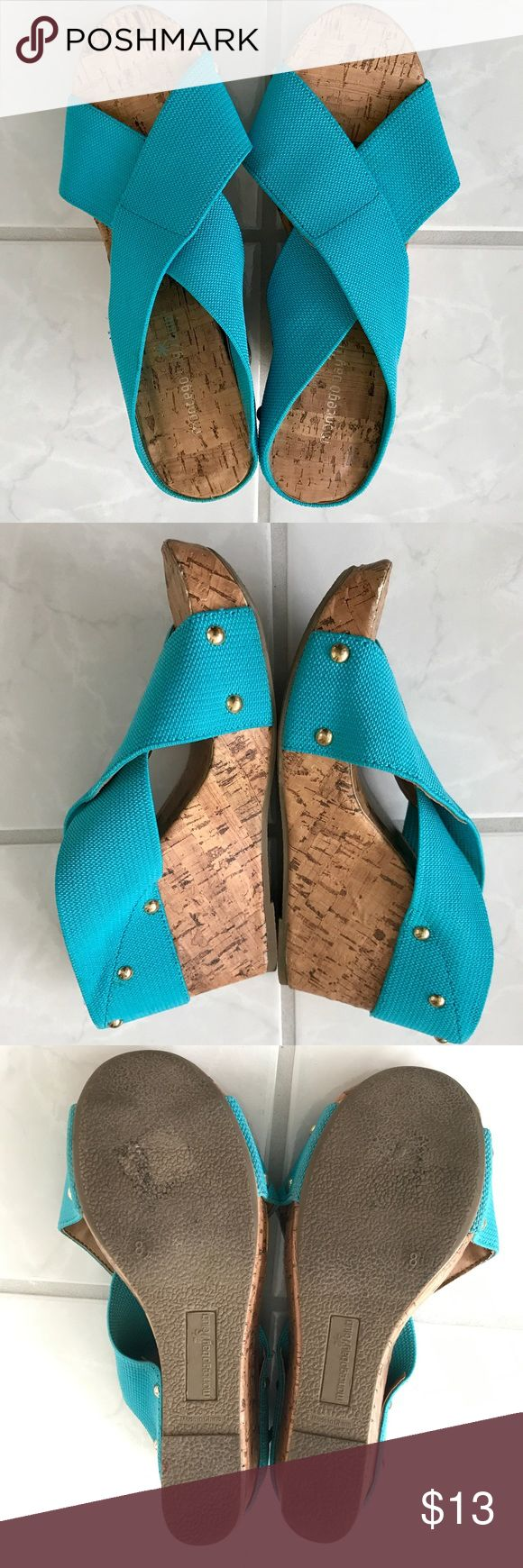 Teal wedges Teal wedge sandals. Add a fun pop of color to any outfit! The top is a stretchy material to keep your feet from sliding around. Good used condition, some wear on front toe area pictured. Montego Bay Club Shoes Wedges