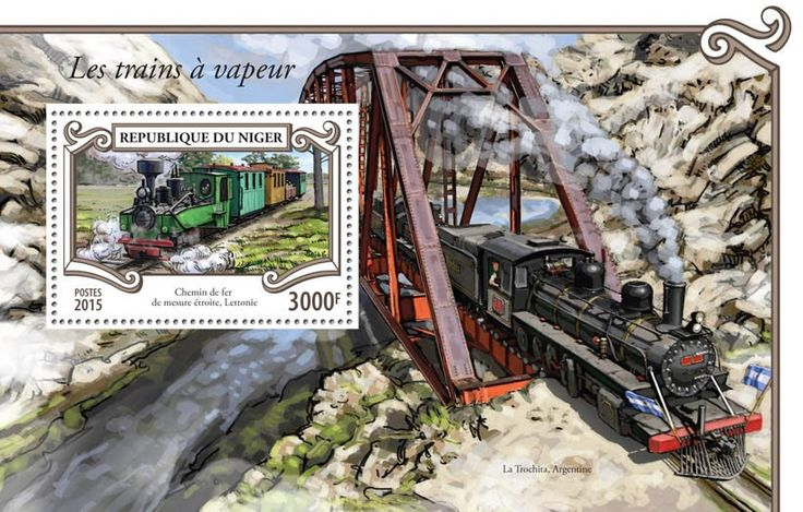 Post stamp Niger NIG 15308 bSteam trains (Narrow gauge train, Latvia)