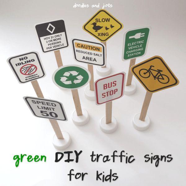 green DIY traffic signs for kids