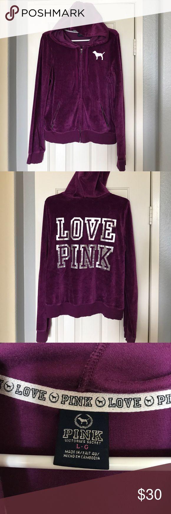 "VS PINK zip up jacket Victoria's Secret PINK, purple, zip up jacket with hood & front pockets. PINK dog logo on front left chest & ""LOVE PINK"" on the back. Good condition! PINK Victoria's Secret Other"