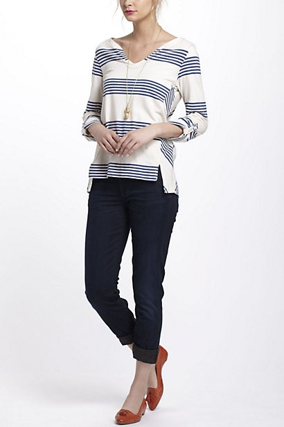 Pick-Stitched Striped Pullover - Anthropologie.com
