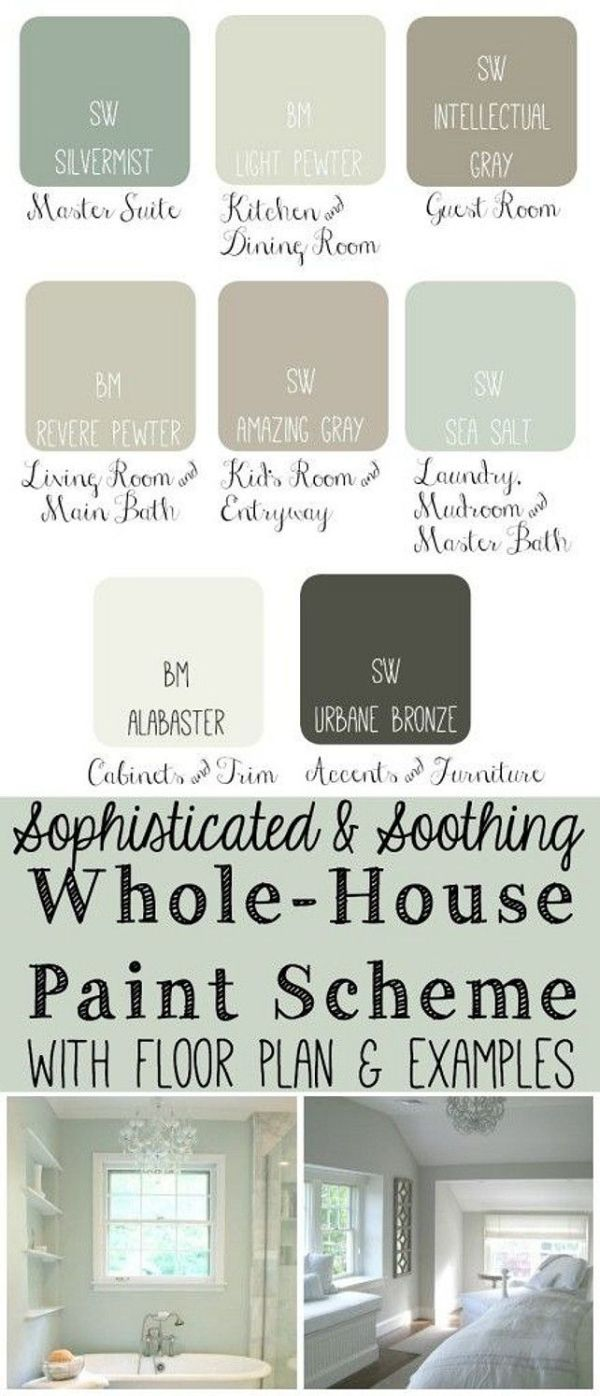 Whole House Paint Scheme: Master Bedroom: Sherwin Williams Silvermist. Kitchen Dining Room: Benjamin Moore Light Pewter. Guest Bedroom: Sherwin Williams Intellectual Gray. Living Room and Main Bathroom: Benjamin Moore Revere Pewter. Kids Bedroom: Sherwin Williams Amazing Gray. Entryway: Sherwin Williams Amazing Gray. Laundry Room, Mudroom and Master Bathroom: Sherwin Williams Sea Salt. Cabinet and Trim Paint Color: Benjamin Moore Alabaster. Accents and Furniture: Sherwin Williams Urbane…