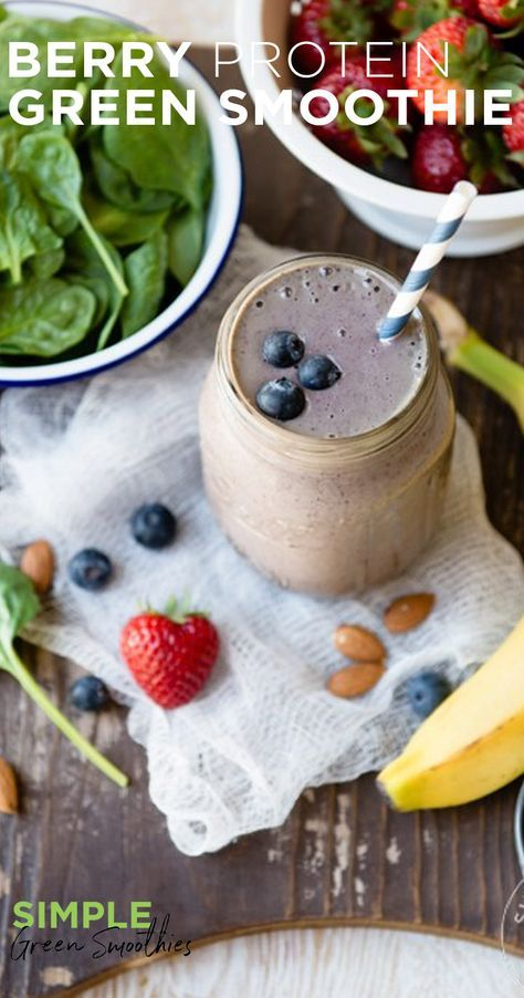 This is one of our favorite combos - strawberries, blueberries, and banana. We up the protein by adding almonds. We also love the extra dietary fiber and vitamin E from the almonds. I SimpleGreenSmoothies.com