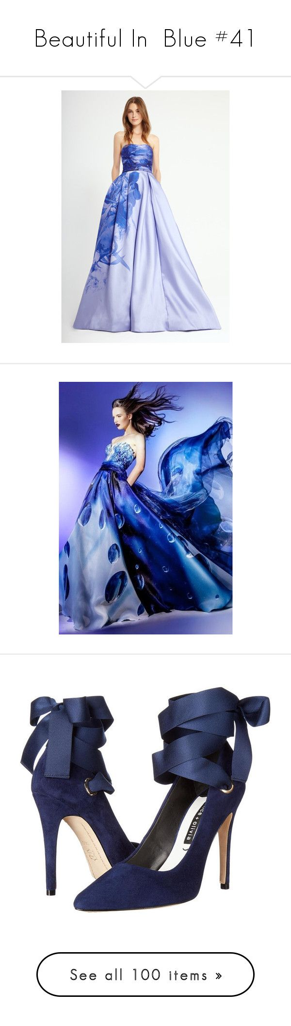 """""""Beautiful In  Blue #41"""" by rainingviolets ❤ liked on Polyvore featuring shoes, heels, scarpe, faces, dresses, home, outdoors, blue dress, electric blue dress and royal blue dress"""