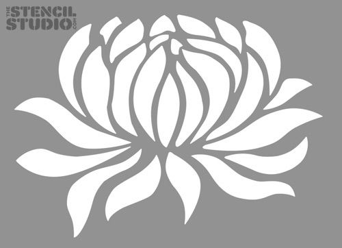 Stencils for DIY and home decoration. Water Lily Flower stencil design from The Stencil Studio