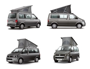 Volkswagen California Camper Van 2012. (Not the VW Transporter Van Doubleback). Sleeps 4 adults (in 2 pairs). One pair upstairs and one pair downstairs. Rear seats slide smoothly and convert into a bed. At the press of a button, the roof pops up to reveal a double bed and mattress on sprung slats. 2-burner stove, sink and 42-litre cool box. 2 front seats swivel around to face backwards. 2 chairs and table fold into tailgate. Optional awning. Window shades. 3 models.