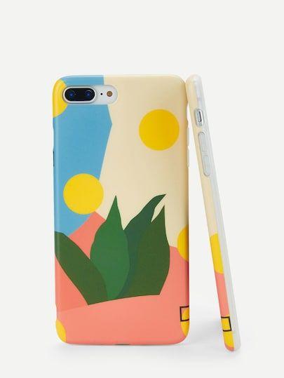 9cef126cbc Shop Color Block Leaf Detail iPhone Case online. SheIn offers Color Block  Leaf Detail iPhone