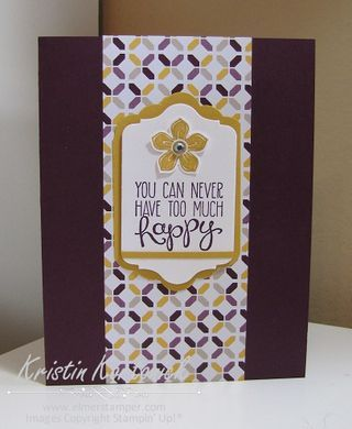 Simple card featuring Stampin' Up's new moonlight DSP and 2014-2016 in colors by Kristin Kortonick