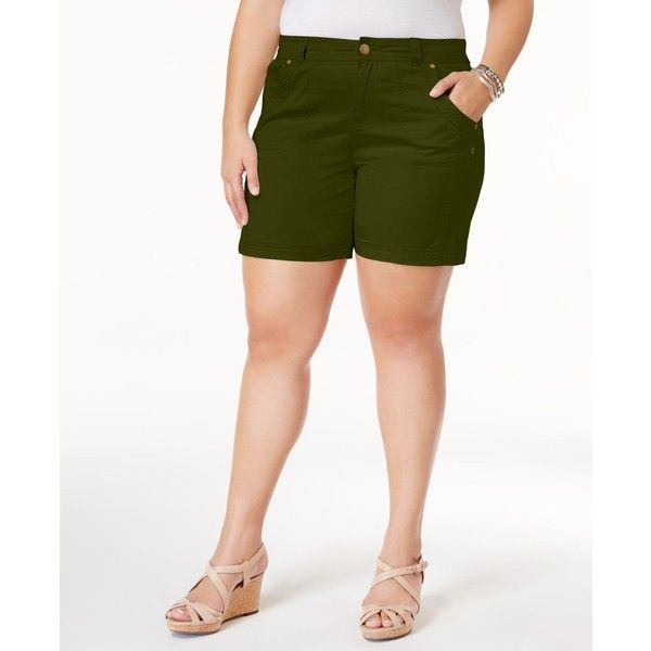 Style & Co Plus Size Shorts, Created for Macy's (56 SAR) ❤ liked on Polyvore featuring shorts, clay, style&co shorts, women's plus size shorts, slim fit shorts, plus size shorts and slim shorts
