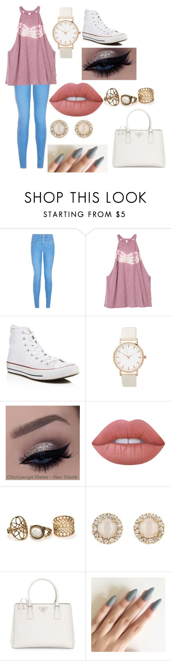 """made by malmal @ school ❤️"" by duhitsallison ❤ liked on Polyvore featuring New Look, RVCA, Converse, Lime Crime, Kate Spade and Prada"
